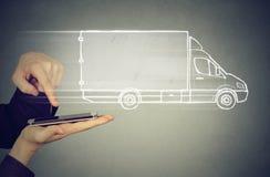 Delivery service via modern technology Stock Image