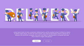 Delivery Service Web Banner with Cartoon Postman Royalty Free Stock Image