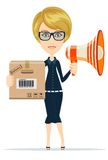 Delivery service woman with box and megaphone Royalty Free Stock Photography