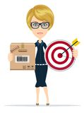 Delivery service woman with box and megaphone Stock Images