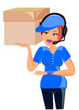 Delivery woman in blue uniform Royalty Free Stock Photo