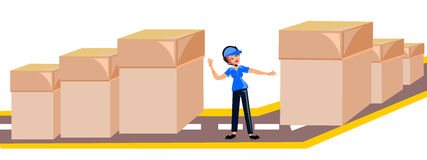 Delivery woman in blue uniform Stock Photo