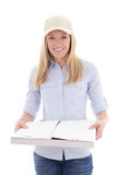 Delivery service woman holding pizza box isolated on white Stock Image