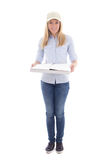 Delivery service woman holding pizza cardboard box isolated on w Royalty Free Stock Photos