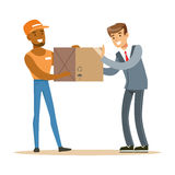Delivery Service Worker Bringing Box To Office Worker, Smiling Courier Delivering Packages Illustration. Vector Cartoon Male Character In Uniform Carrying Stock Image