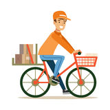 Delivery Service Worker Delivering Boxes With Bycicle, Smiling Courier Delivering Packages Illustration. Vector Cartoon Male Character In Uniform Carrying Stock Photo