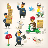 Delivery service workers. Colorful delivery service workers and postmen at work Royalty Free Stock Images