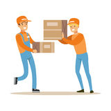 Delivery Service Workers Helping Each Other With Boxes, Smiling Courier Delivering Packages Illustration. Vector Cartoon Male Character In Uniform Carrying Stock Photo