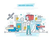 Delivery services. Shopping, receive order, gps tracking, shipment, technical support. Royalty Free Stock Photography