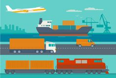 Delivery services. Ship, truck, car, train, airplane. Maritime rail and air transport delivery services.  Ship, truck, car, train, airplane. Wide flat Royalty Free Stock Photo