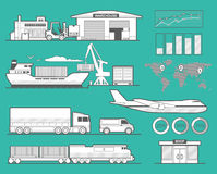 Delivery services. Ship, truck, car, train, airplane. Maritime rail and air transport delivery services.  Ship, truck, car, train, airplane. Wide flat Stock Photo