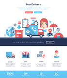 Delivery services website header banner with webdesign elements Stock Images