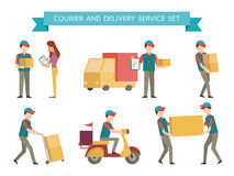 Delivery set. Courier and delivery set. Simple character with flat design style Stock Photos