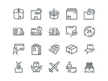 Delivery. Set of outline vector icons. Includes such as Loading, Express Delivery, Tracking Number Search, Cargo Ship. And other. Editable Stroke. 48x48 Pixel Royalty Free Stock Photos
