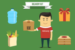 Delivery set. Vector delivery guy with set of icons. Each object can be placed in his hand Royalty Free Stock Photo