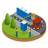 Delivery or shipping bio toilet cabins. Blue bio toilet in city. Hiking services. Flat color style vector illustration. Icon Stock Image