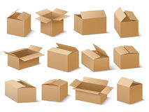 Delivery and shipping carton package. Brown cardboard boxes vector set. Cardboard box for transportation and packaging illustration Royalty Free Stock Images