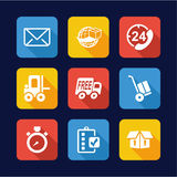 Delivery or Shipping Icons Flat Design Royalty Free Stock Images