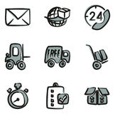 Delivery or Shipping Icons Freehand 2 Color Royalty Free Stock Photos