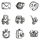 Delivery or Shipping Icons Freehand Stock Images