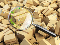 Delivery, shipping, logistics concept. Cardboard box tracking se Stock Image