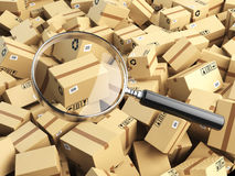 Delivery, shipping, logistics concept. Cardboard box tracking se Stock Photography