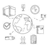 Delivery and shipping service sketched icons Stock Photos