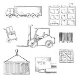 Delivery and shipping sketch icons Royalty Free Stock Photos