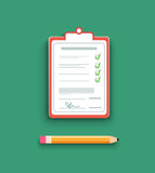 Delivery signature clipboard in flat design Stock Photos