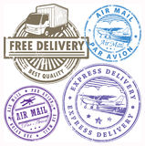 Delivery stamps set. Grunge rubber stamps set with the words Free delivery, Air mail inside Stock Photo