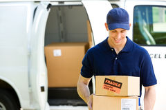 Delivery: Standing By Van with Boxes Royalty Free Stock Photography