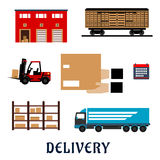 Delivery and storage service flat icons Royalty Free Stock Photography
