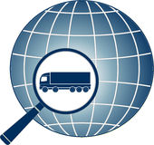 Delivery symbol with magnifier, lorry and planet Stock Photo