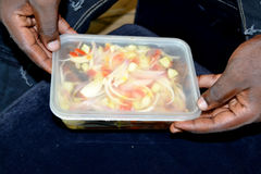 Delivery of take-away food Stock Images
