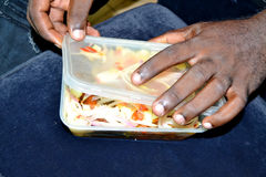 Delivery of take-away food Stock Image
