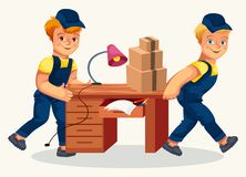 Delivery team carrying desk and cartons poster. Two loader men transporting table and cardboard boxes on it flat vector illustration. Moving service company stock illustration