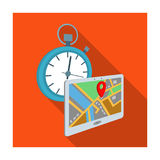 Delivery on time to the destination. Logistics and delivery single icon in flat style isometric vector symbol stock Royalty Free Stock Images