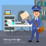 Delivery to the Office Web Banner. World Transfer. To addressee. Mailman in suit holding envelope stands near working place in the office. Hand to hand delivery Stock Images