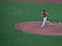 Delivery to the Plate--San Francisco Giants vs. Oakland Athletics Stock Photo