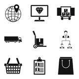 Delivery to store icons set, simple style Stock Image