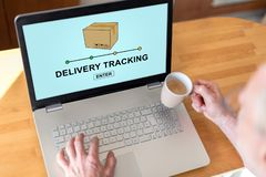 Delivery tracking concept on a laptop stock photography