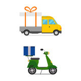 Delivery transport gift box truck and scooter shipping vector illustration. Stock Photo