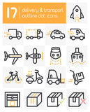 Delivery and Transport Line Icons Royalty Free Stock Images