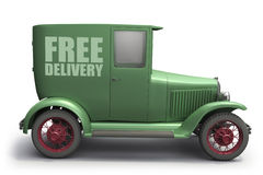 Delivery truck. 3d illustration of a vintage delivery truck, isolated on white Stock Photos