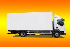 Delivery truck. Isolatedon yellow-orange background Stock Photos