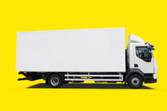 Delivery truck. Isolated on yellow background Royalty Free Stock Photography