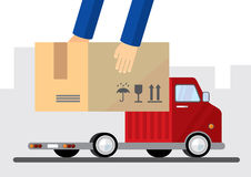 Delivery truck with box Royalty Free Stock Photo