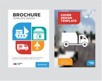 Delivery truck brochure flyer design template. With abstract photo background, Airplane in vertical ascending position, Up arrows couple, Free delivery truck Royalty Free Stock Photo