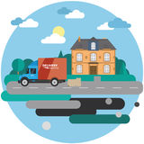 Delivery truck with cardboard boxes near house on background of summer landscape. Fast delivery banner,  illustration. Stock Photography