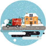 Delivery truck with cardboard boxes near house on background of winter landscape. Fast delivery banner, vector Stock Images